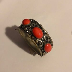 Vintage silver tone and Red stones bangle
